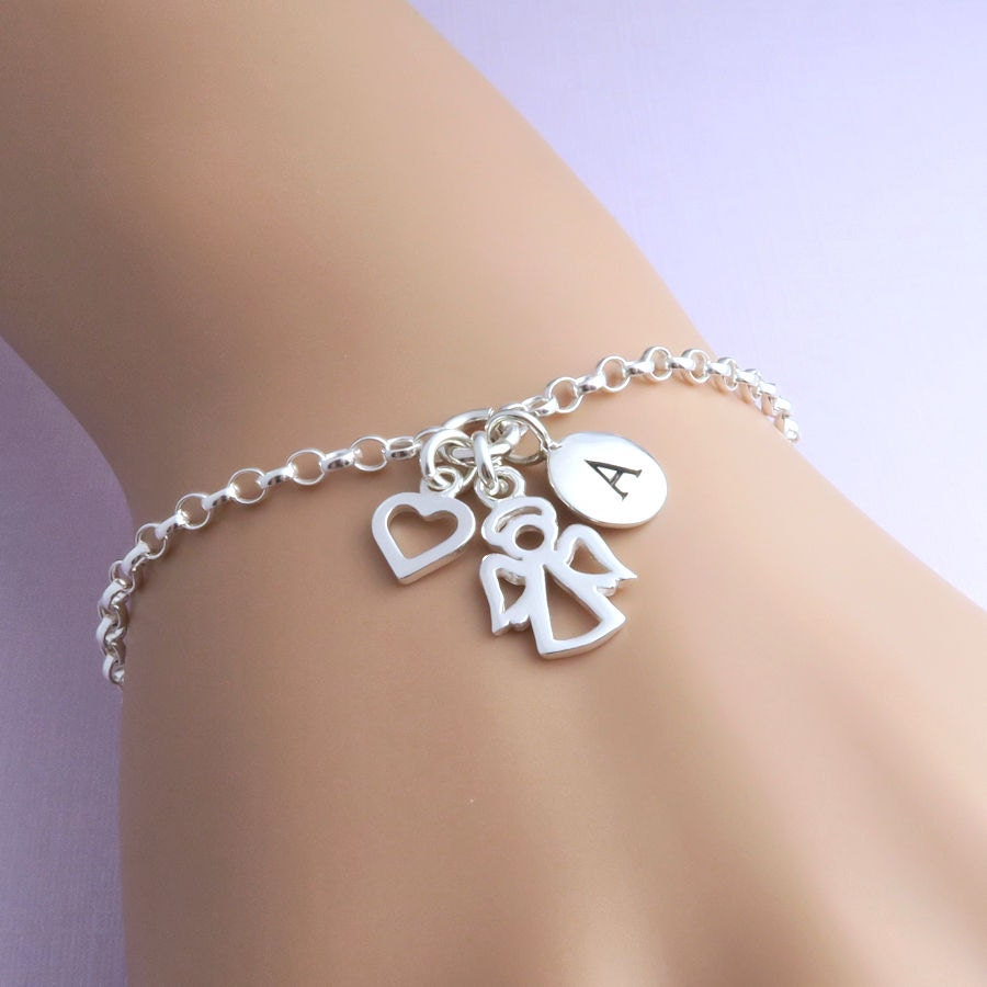 Personalized Angel Bracelet  Sterling Silver Little Angel Heart and Initial Bracelet  guardian angel  protection  remembrance jewelry