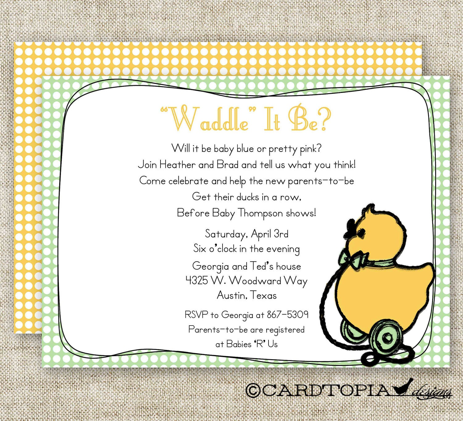 gender reveal party baby shower invitations vintage duck toy digital