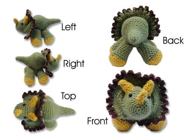 Handmade Crochet Triceratops