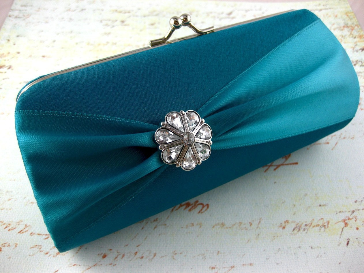 Custom Bridesmaid Bride Color Satin Purse - Choose your color and design to match your wedding colors