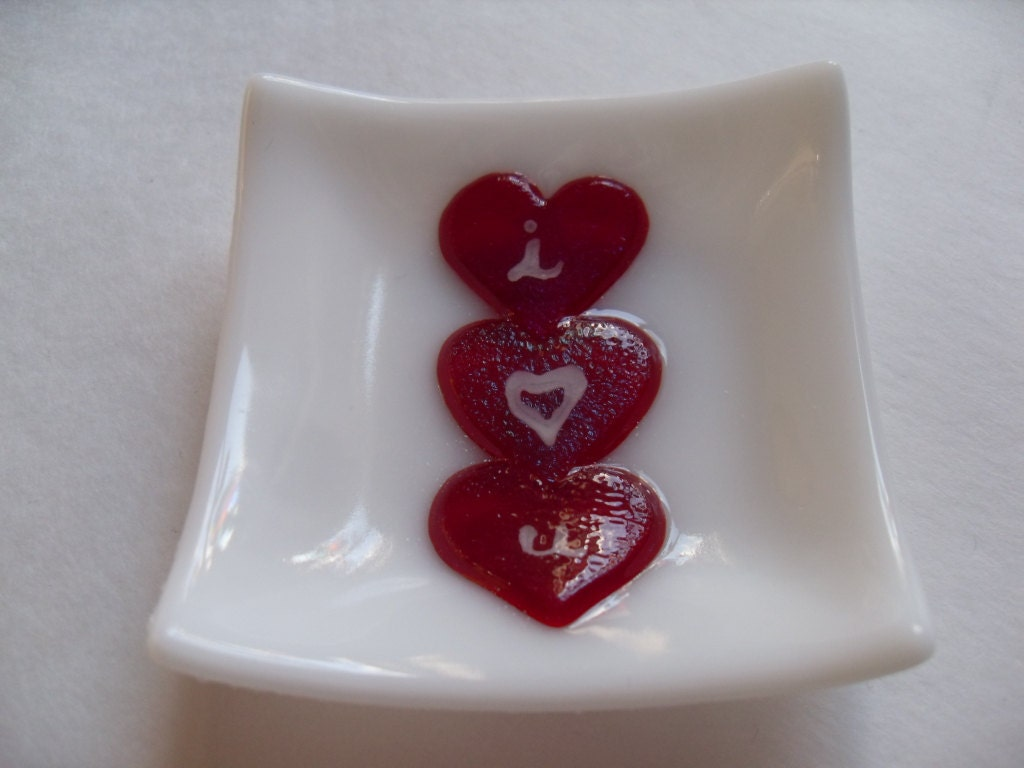 Valentines Heart I heart you glass fused mini dish