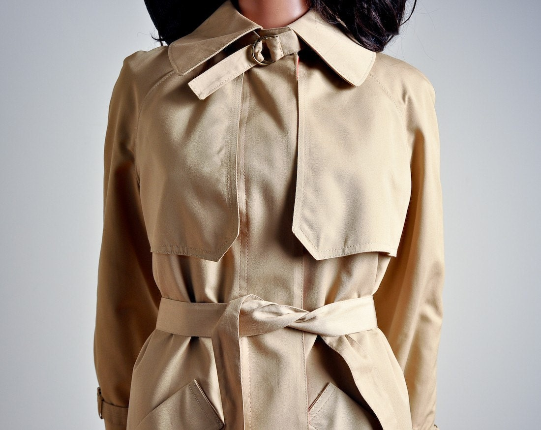 story book vintage tan canvas trench coat s m