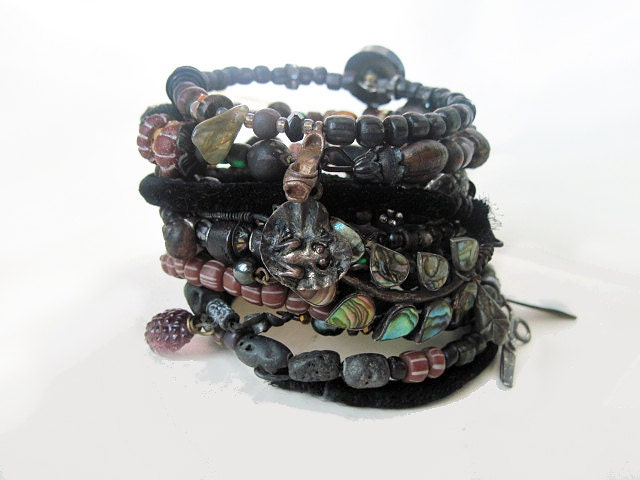 Enigmas That Surround II. Tribal Gypsy Assemblage Bangle Stack.
