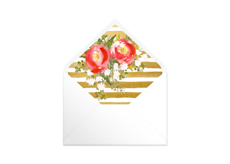 Printable Envelope Liner  Gold Stripes  Flowers. Watercolour Liners. 9 Sizes. Envelope Template DIY Wedding Printable Invitation