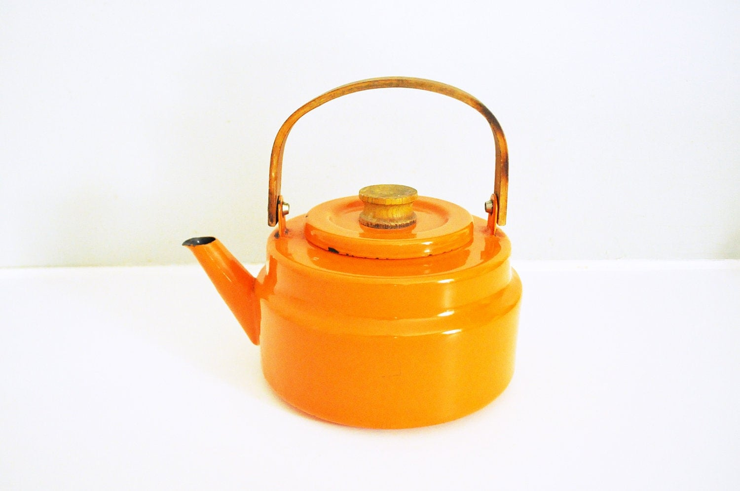 Vintage Bright Orange Enamel Teapot - LittleBlueHouseMod