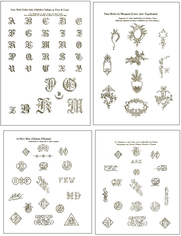 Vintage hand embroidery monogram design patterns by