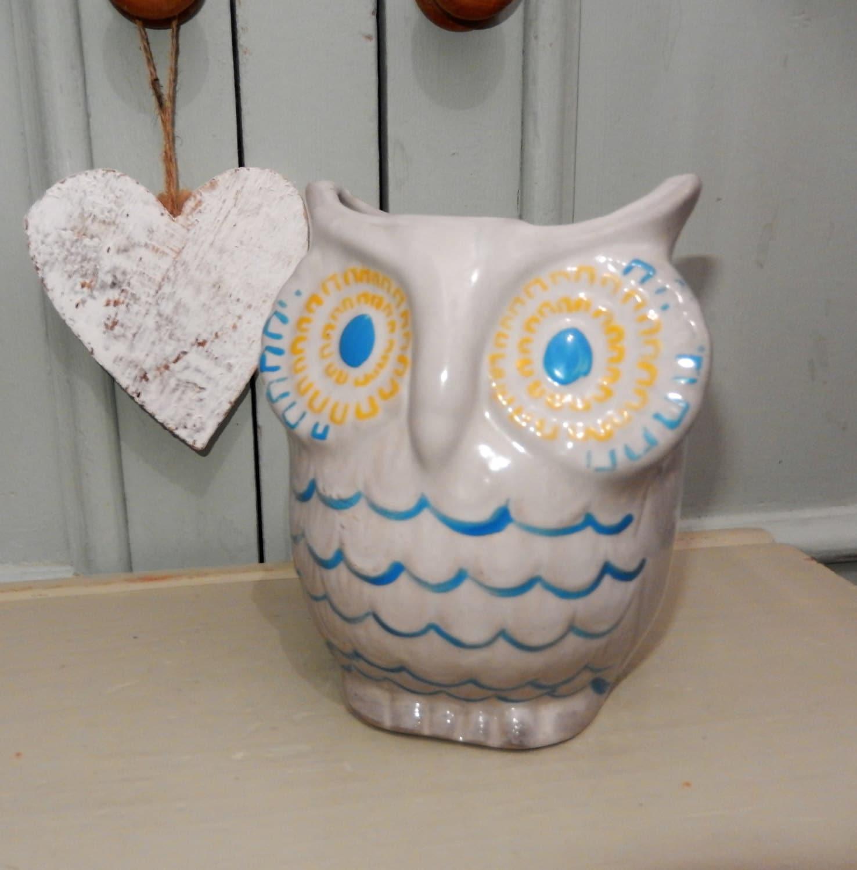 RARE Max Factor Owl, 1970s Max Factor Geminesse Purfume Promotion, Retro Owl, Grey Owl, Advertisement, Ceramic Owl, Makeup Owl