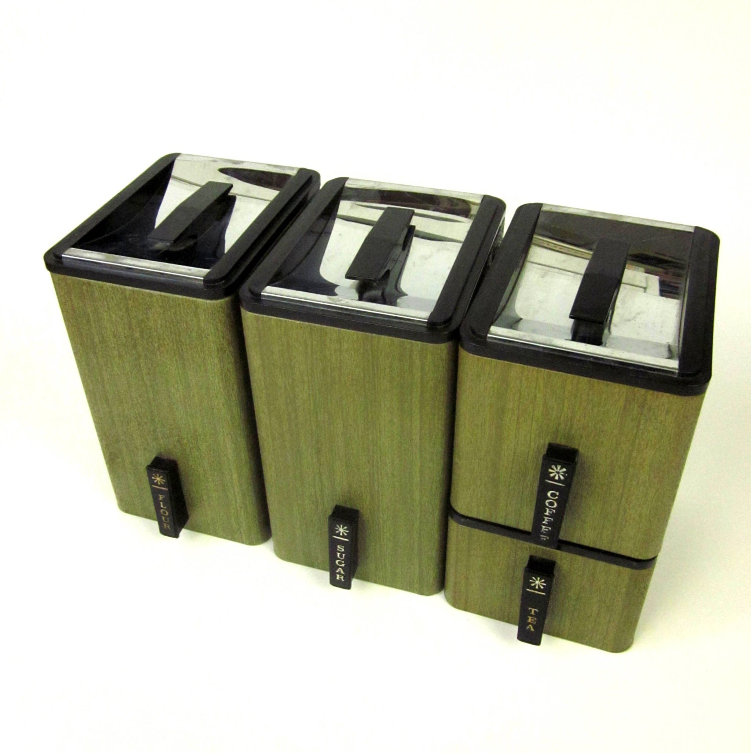 Kromex Kitchen Canister Set 60s / Avocado Green by