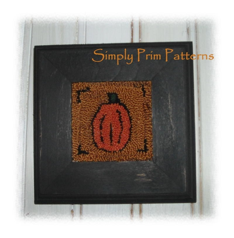 Punch Needle PATTERN primitive PUMPKIN fall autumn ornament -ofg team-