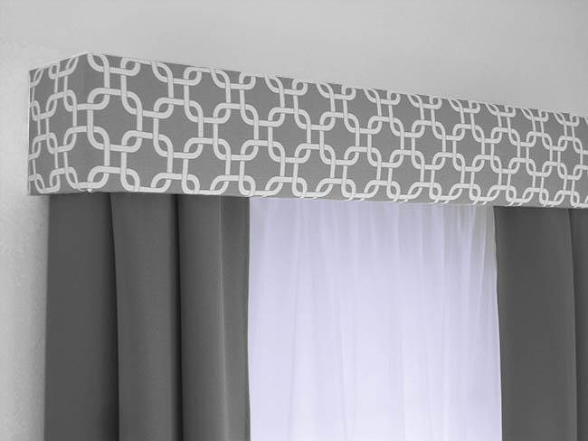 ... Treatment - Custom Curtain Topper in Modern Grey and White Fabric