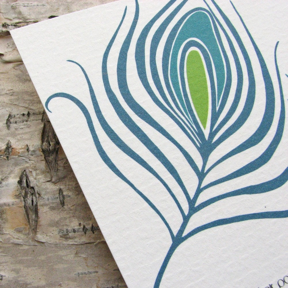 Peacock Feathers Wedding Invitation (ECO CONSCIOUS LINE)