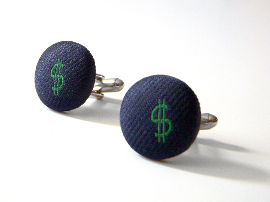 Green Dollar Sign Recycled Necktie Cufflinks Navy Embroidered