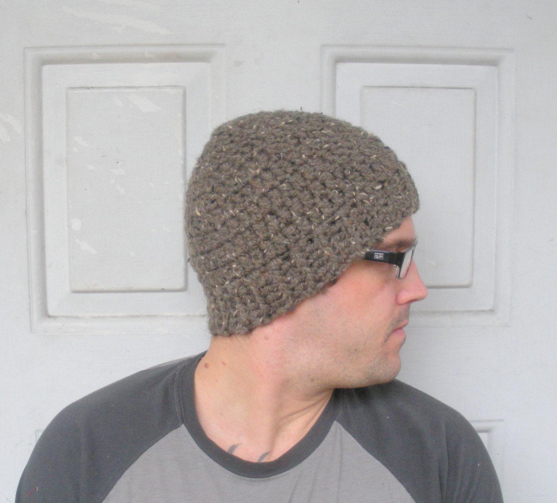 Mens Hat Crochet Pattern Chunky Yarn : Mens Chunky Crochet Beanie Hat in Brown Tweed wool by luvbuzz