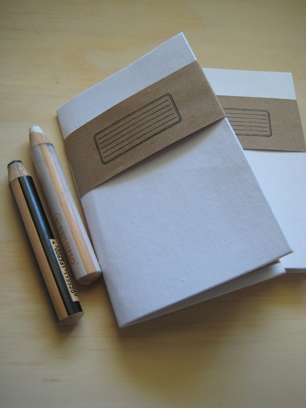 Utility Pencil Companion- Small Book with Kraft Paper Pockets (White)