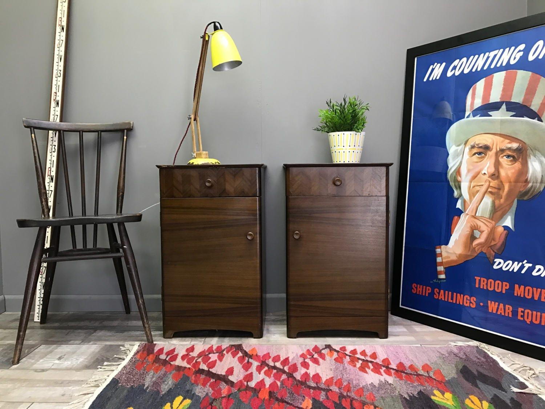 Matching Pair of UNIFLEX Bedside Tables  Retro Vintage Walnut Side End Cabinets