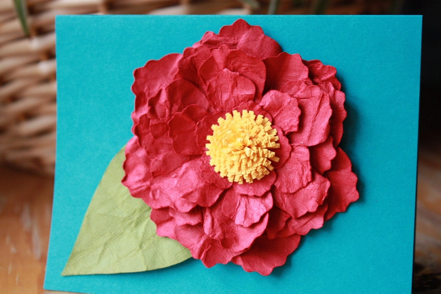 Deep Red and Yellow Ruffled One of a Kind Paper Blossom Card