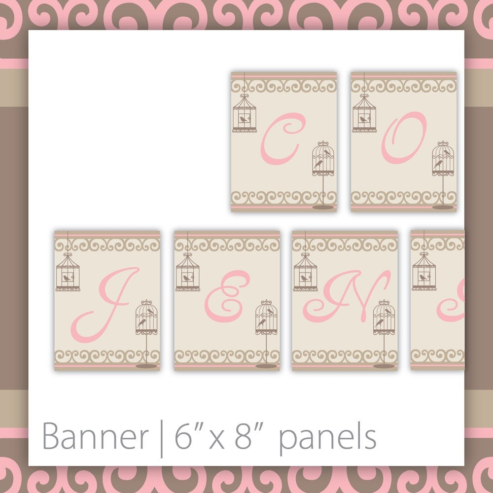 Bridal Shower Banner Pretty Bird Bridal by BlackCherryPrintable