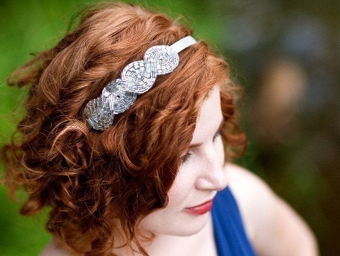 Silver Beaded and Rhinestone Bridal, Wedding, Engagement Party, Headband, Veil
