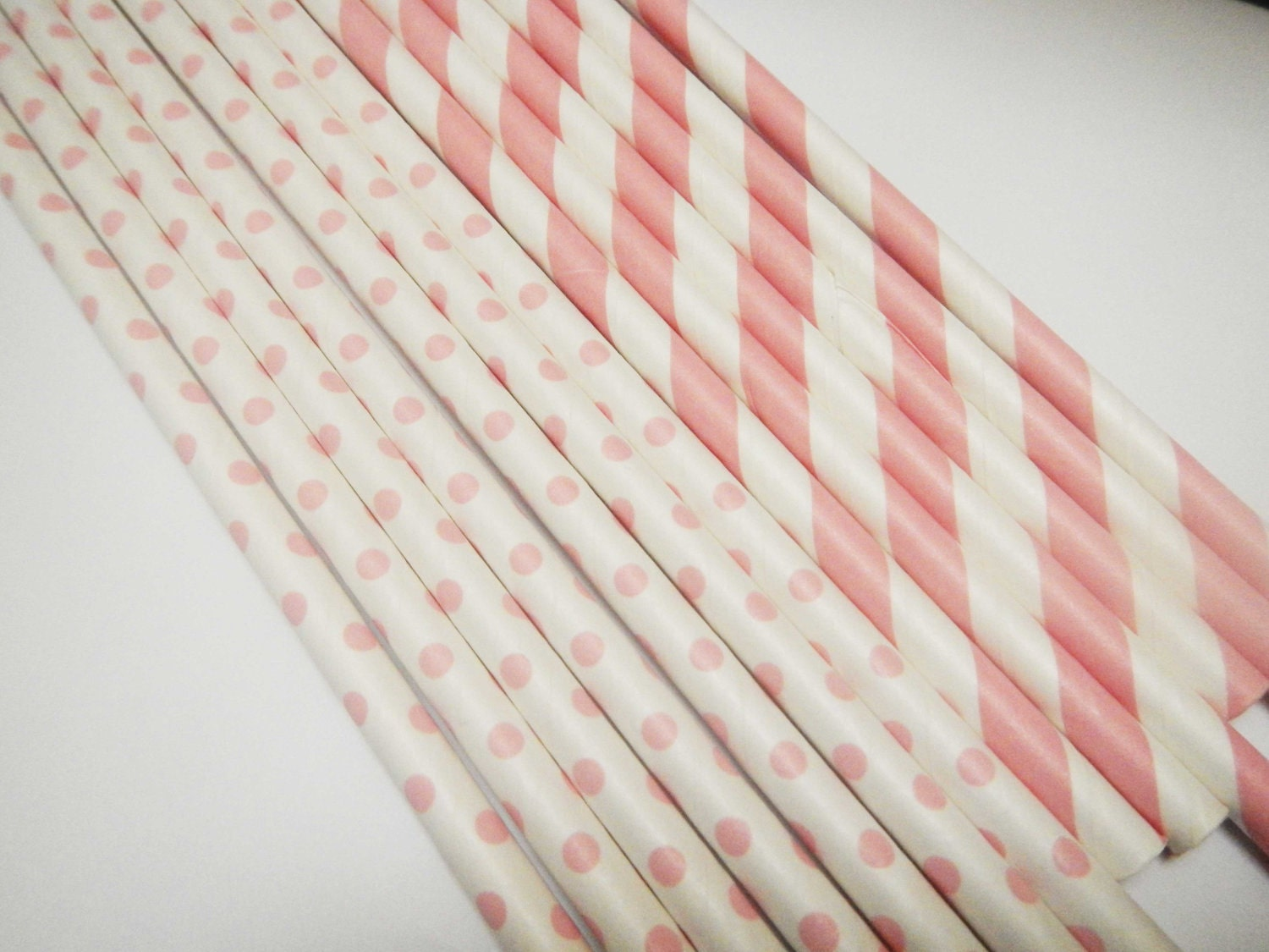 NEW 60 Baby Pink Stripe & Polka Dot Paper Straws - Parties, weddings, graduations  FREE DIY Flags