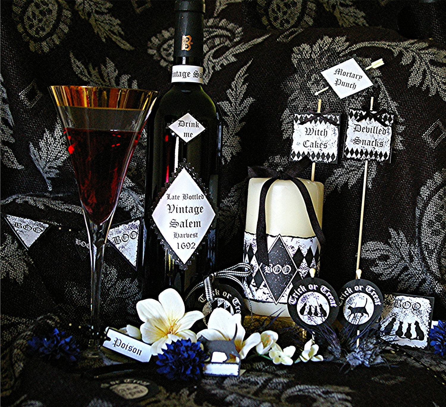 Halloween Party Pack Digital Printable Witches Cats Boos Banner Cupcake Wine Candle Labels Tags Great Value