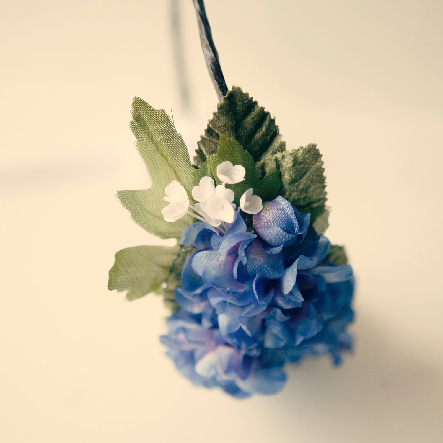 purple flower hair band - blue delphinium - weddings accessory headpiece
