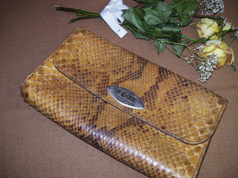Vintage Snakeskin Clutch Purse