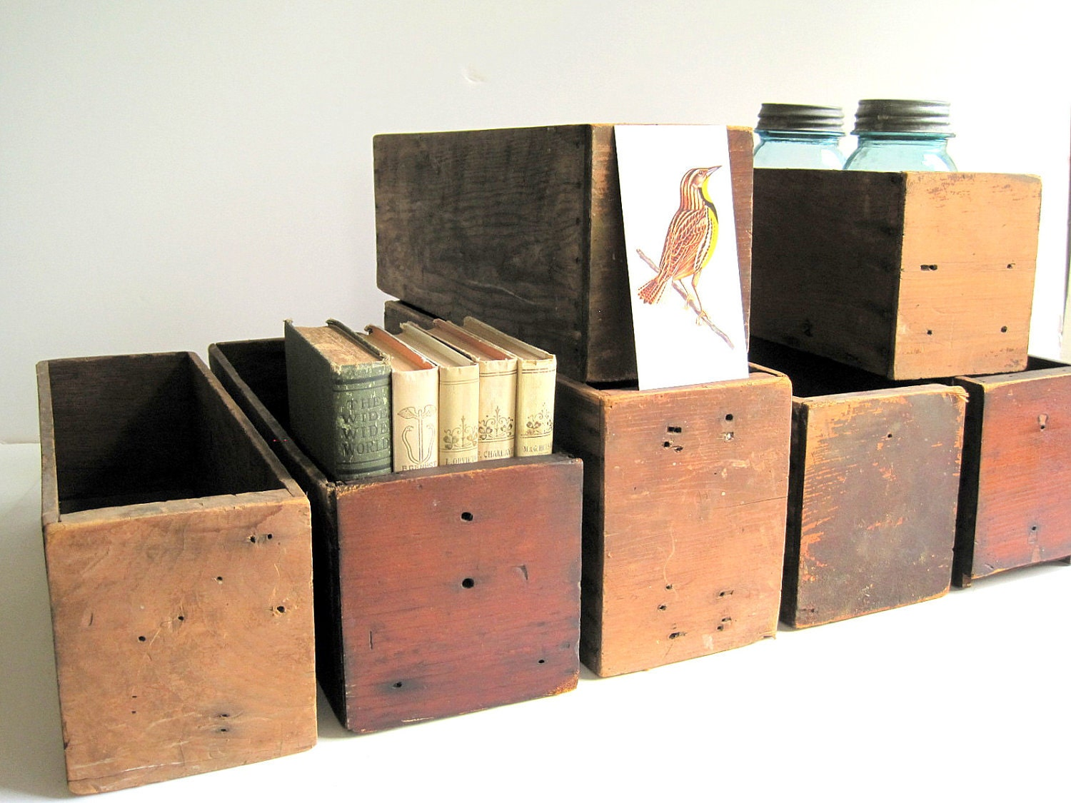 Vintage Wood Bins Stacking Crates Cubbies / Industrial Storage Organization - BirdinHandVTG