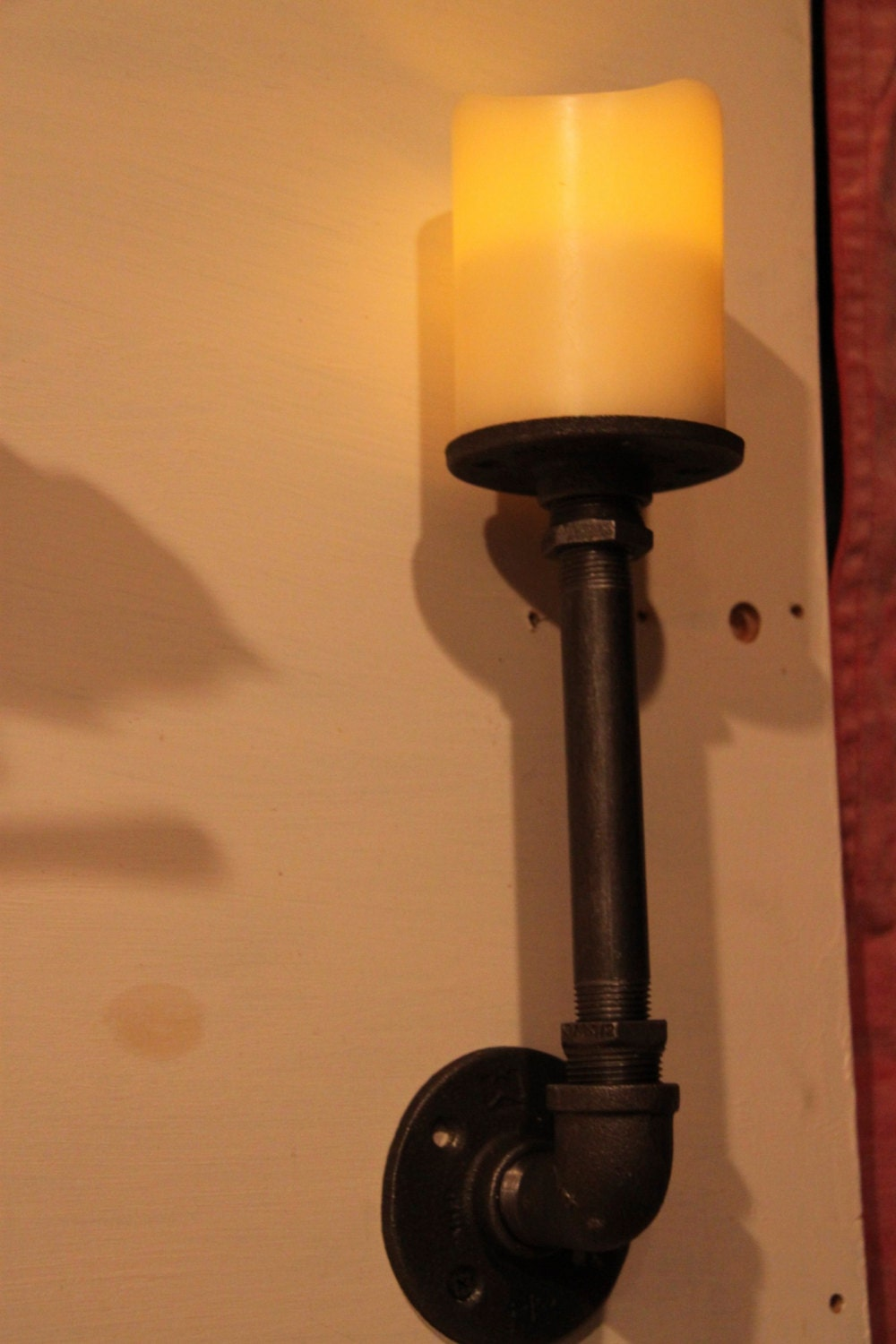 Industrial Candle Wall Sconces : Items similar to Industrial pipe candle holder sconce on Etsy