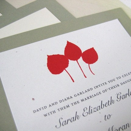 Leaf Print Wedding Invitation Sample