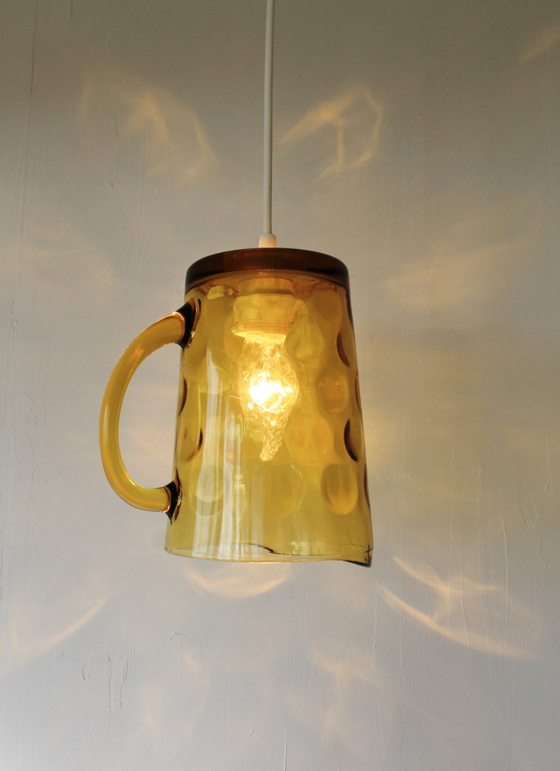 Amber bubble upcycled hanging pendant lighting by bootsngus - Recycled light fixtures ...