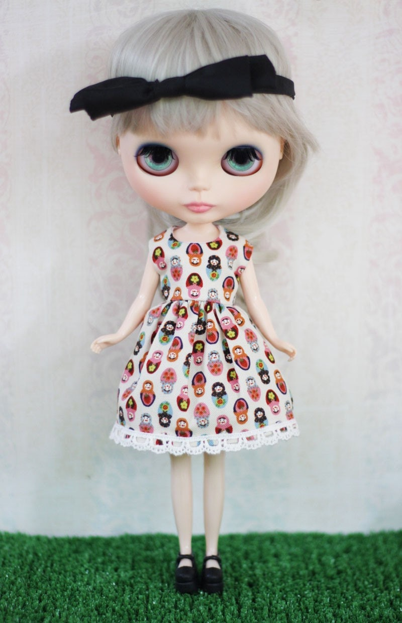 Cream Matryoshka Dress for Blythe