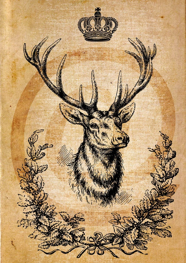 Deer king, crown , home decor, instant Digital Image Download Sheet ...
