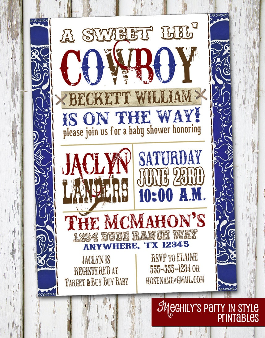western boy baby shower invitation red blue by meghily 39 s catch