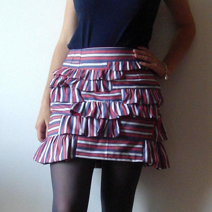 Etsy :: Alibell :: Yolanda Skirt - Red, white and blue striped ruffled skirt (S) from etsy.com