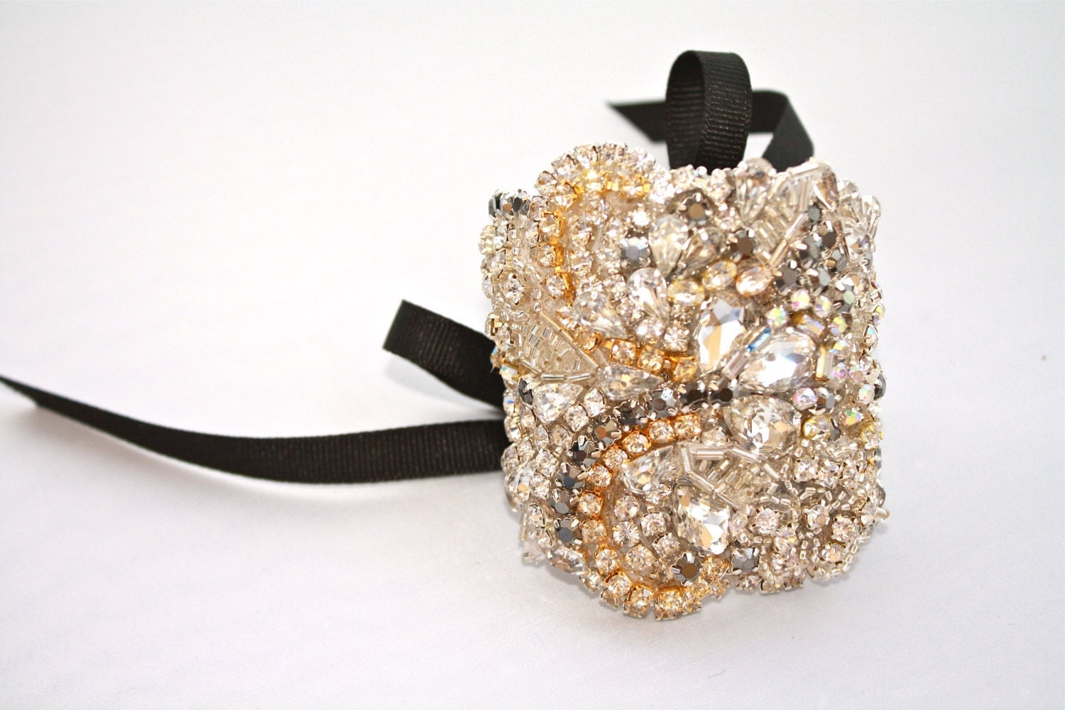 Made to Order Standard Clear Crystal Statement Cuff With Custom Ribbon Tie