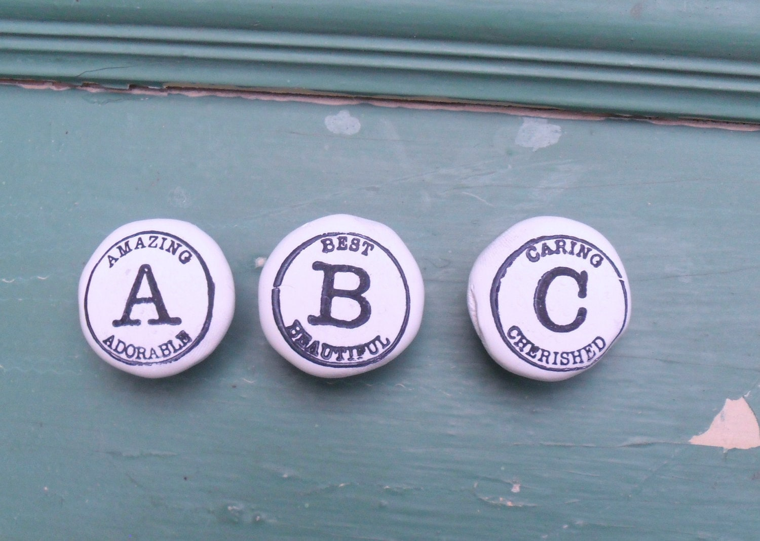 VIntage Inspired  Letter  Knobs by KateCreativeSalvag featured in a  TREASURY Three times