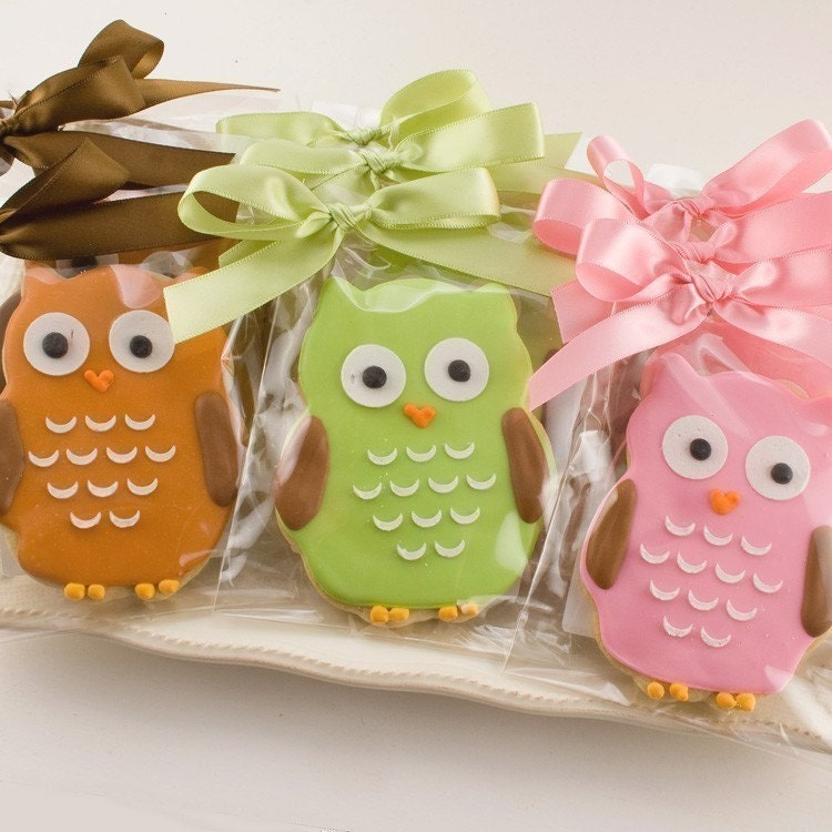 Owl Sugar Cookie Favors - 1 dozen Favors, gift bagged and bowed