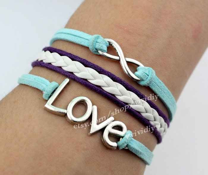 Infinity karma bracelet-Love bracelet-wax rope woven rope jewelry bangle Boy gift girl gift - vividiy