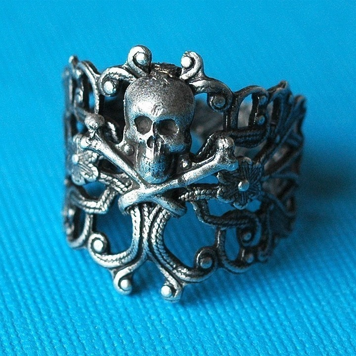 Handmade Jewelry on Etsy - Badazz - oxidized silver plated brass cigar band skull ring by bombalurina from etsy.com