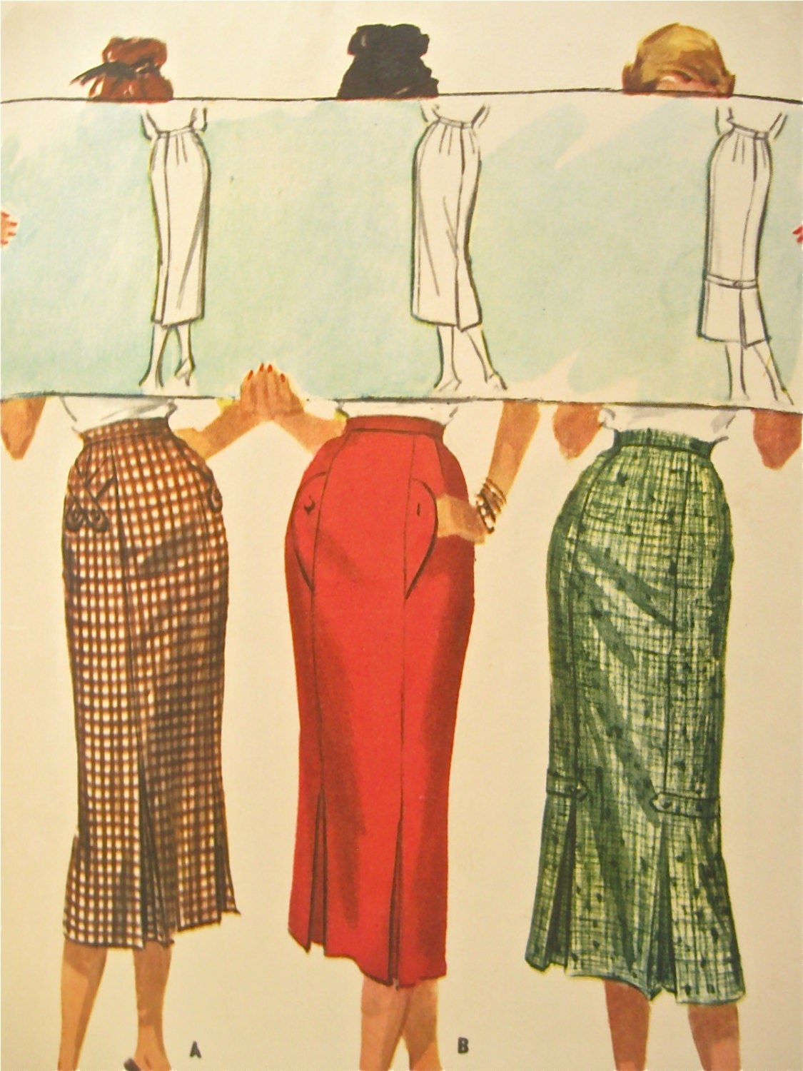 1950s mccalls 4134 pencil kick pleat skirt vintage by
