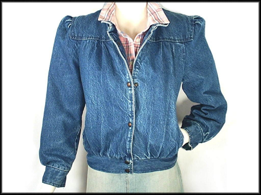 80 S Denim Jacket Vintage Puff Sleeve By Rockymountainretro