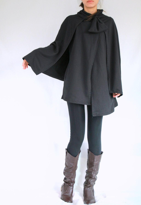 Cloak Coat - Women Coat - Women Black Coat - Layered Cape Coat - Women