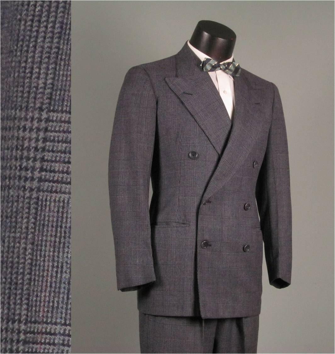 vintage mens suit 1940s blue plaid by jauntyrooster
