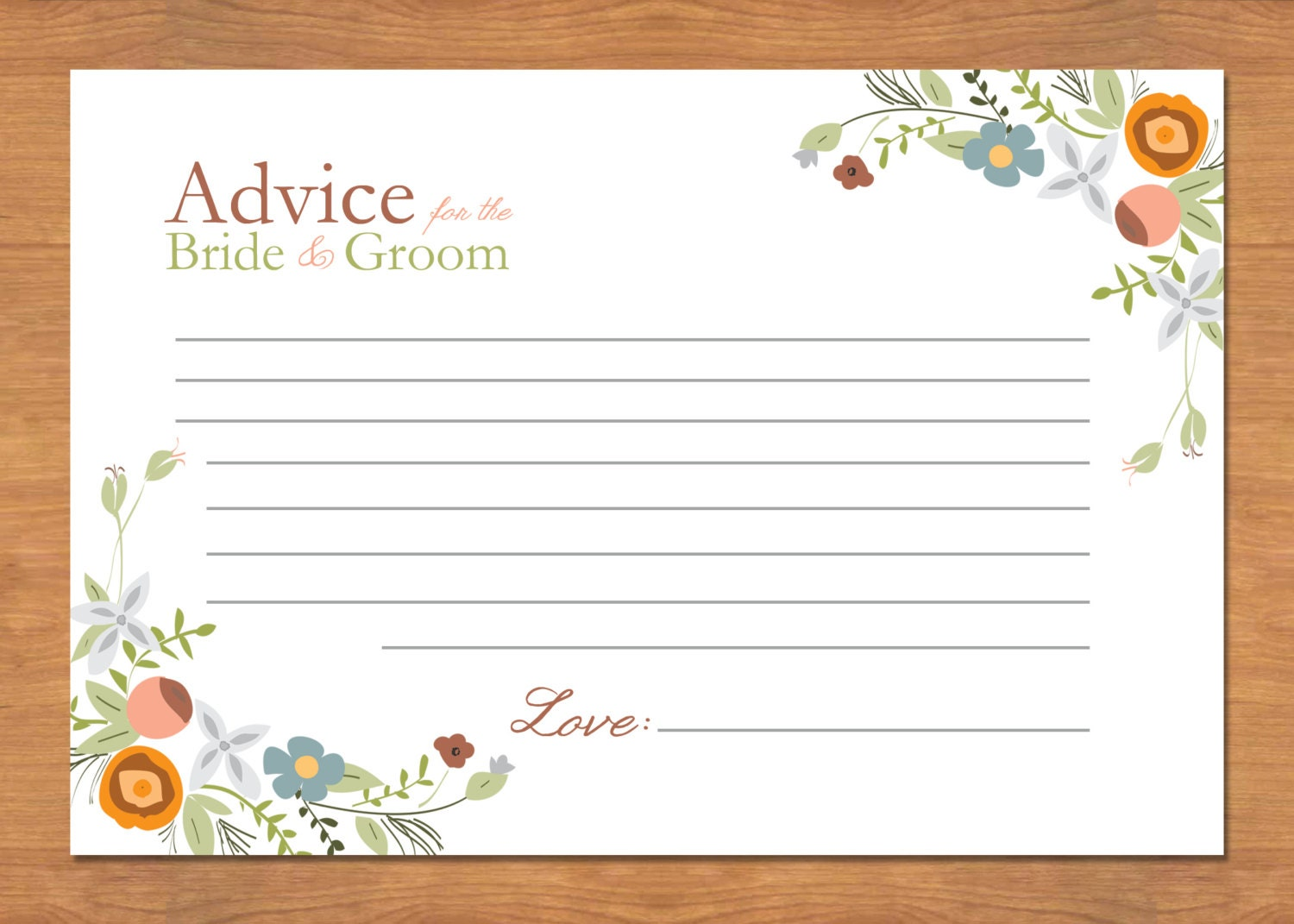 Items Similar To Floral Wedding Advice Cards On Etsy