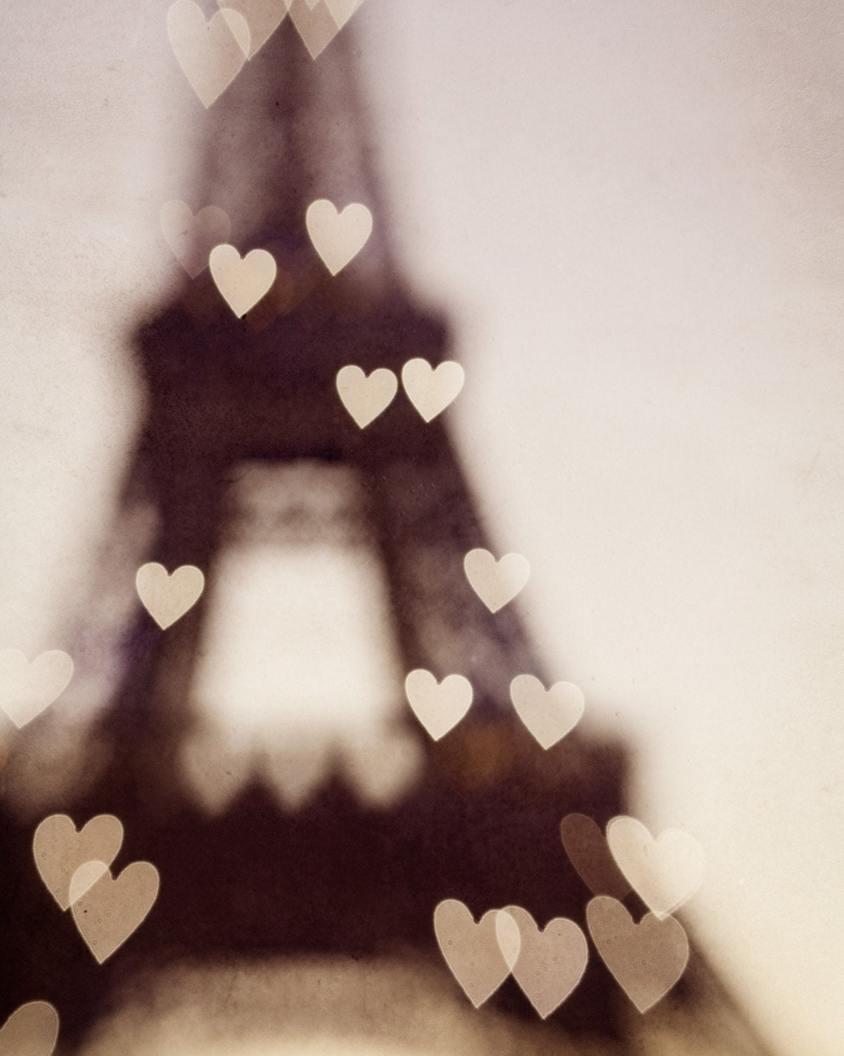 Romantic Paris photograph - City of Love - Heart shaped lights on Eiffel Tower, Spring, Pink, Pastel