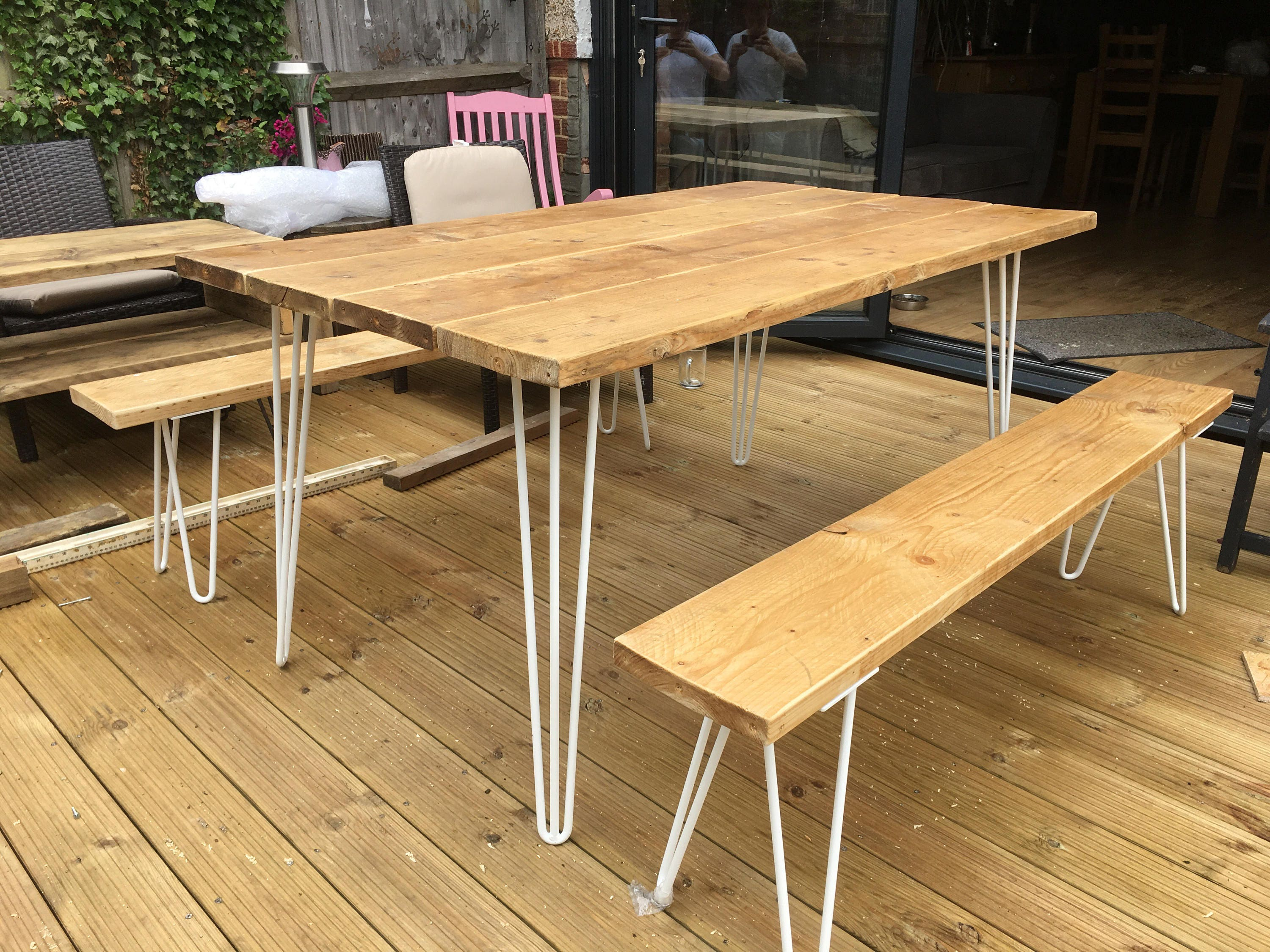 Six Seated Timber Dining  Garden Table and Two Benches with Steel Hairpin legs