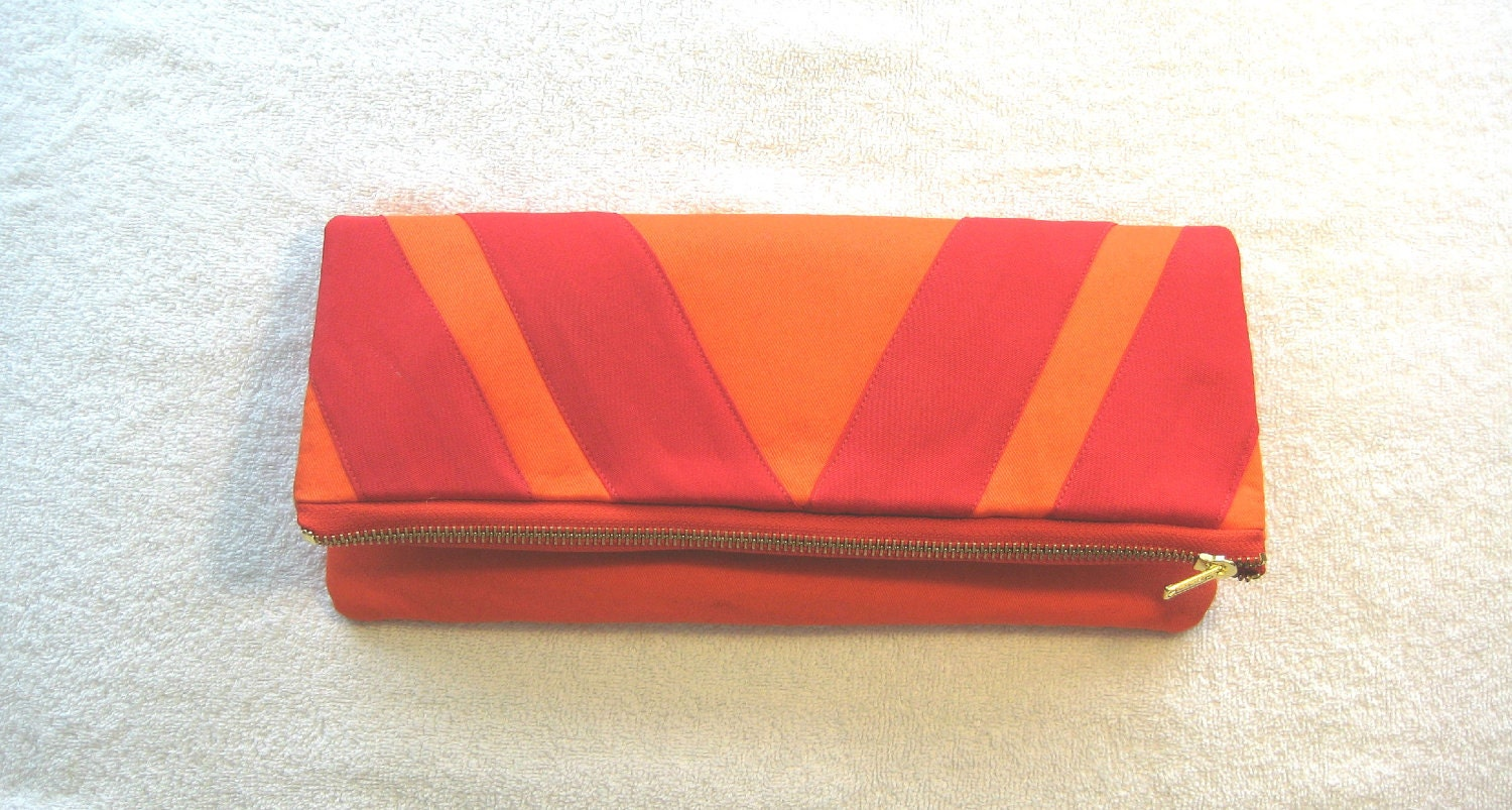 Clutch Purse, Fold Over, The Orange Crush Clutch w/Red Trim Design
