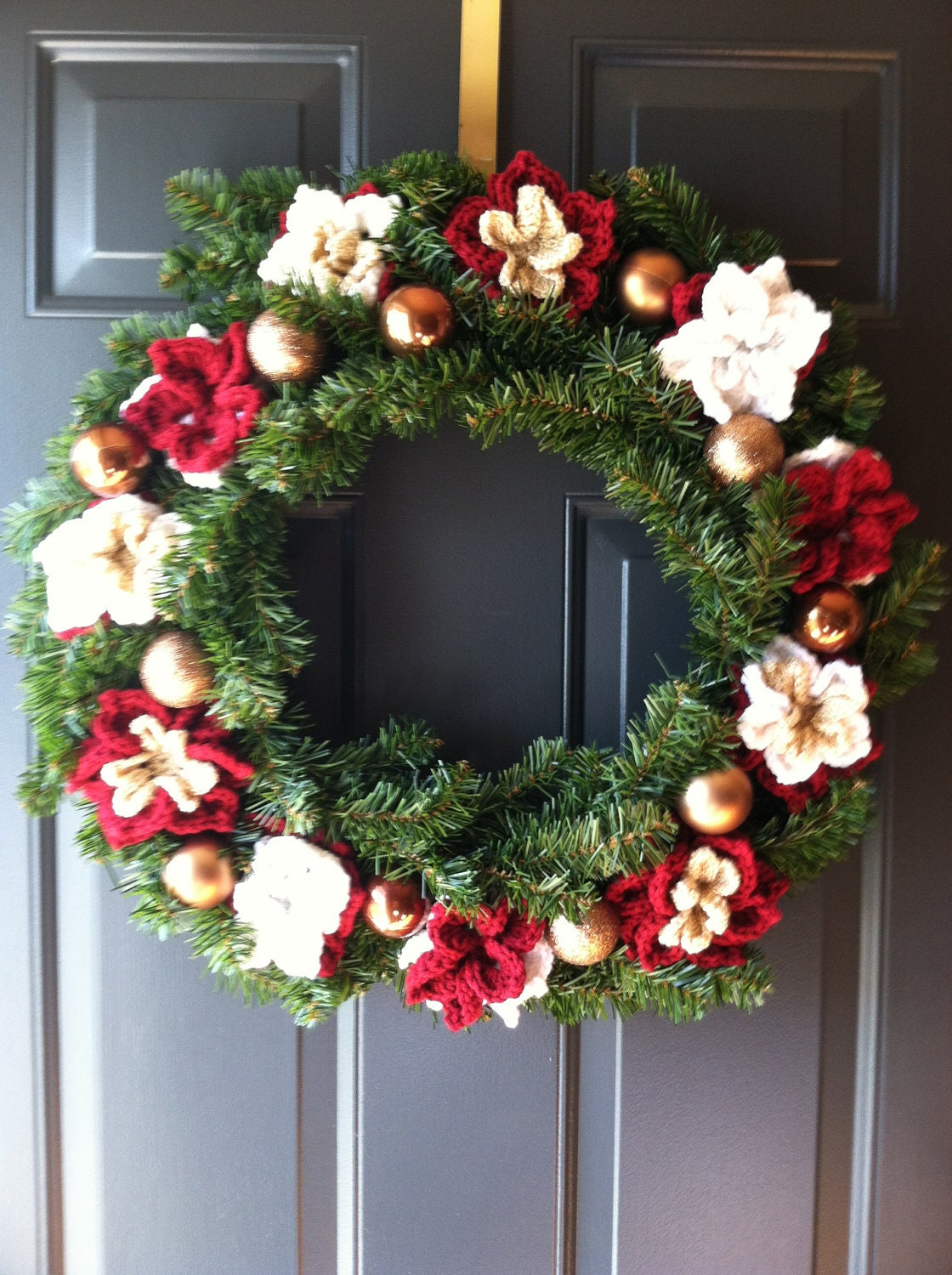 Items similar to beautiful crocheted christmas wreath for for Front door xmas wreaths
