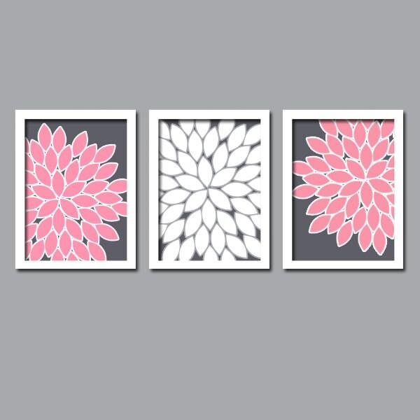 Grey And White Bathroom Wall Decor : Wall art canvas artwork pink gray grey white flower burst
