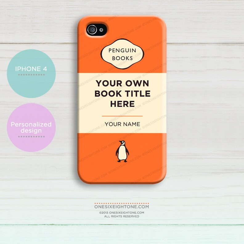 iPhone 4 Classic Peguin book cover. Personalized hard case add your own title and author name.